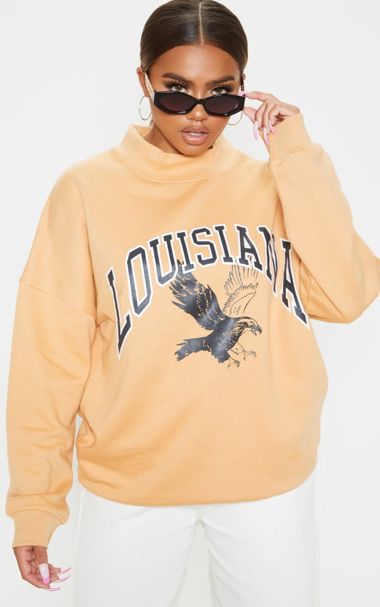 Cornflower Yellow Louisiana Print Oversized High Neck Sweater 1