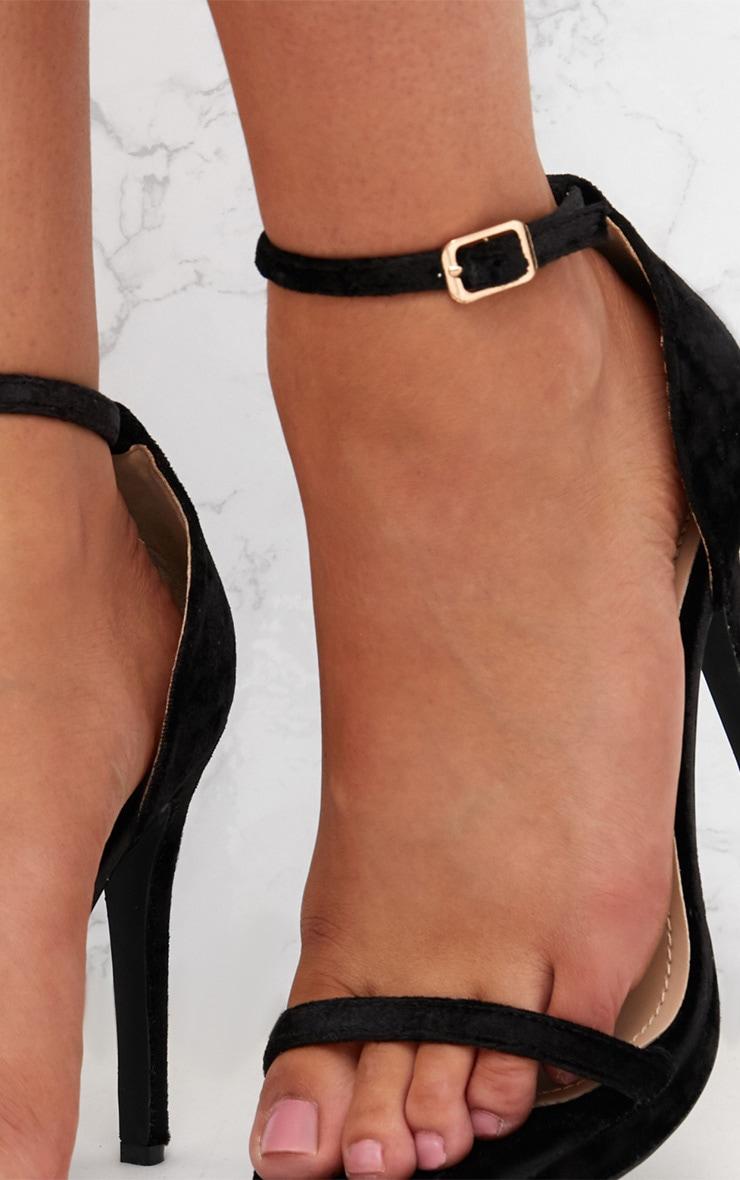 Black Velvet Single Strap Heeled Sandals 5