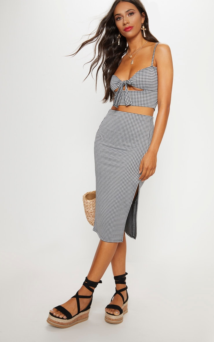 Black Gingham Split Detail Midi Skirt 1
