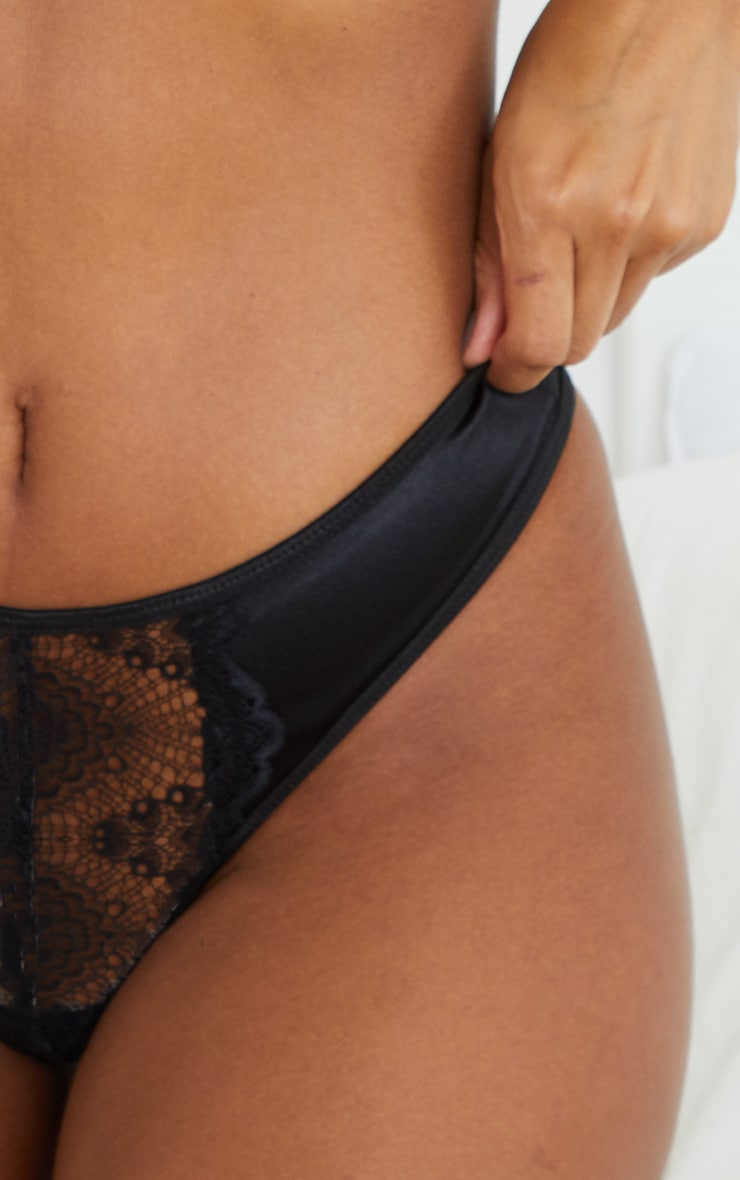 Black Lace Front Panel Satin Thong 4