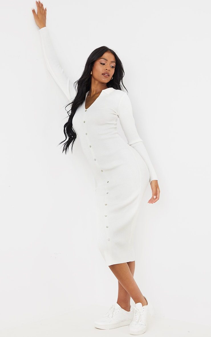 Tall Cream Button Down Collared Knitted Midi Dress 3