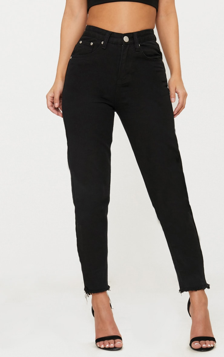 Petite Black Denim Straight Leg Jeans 2