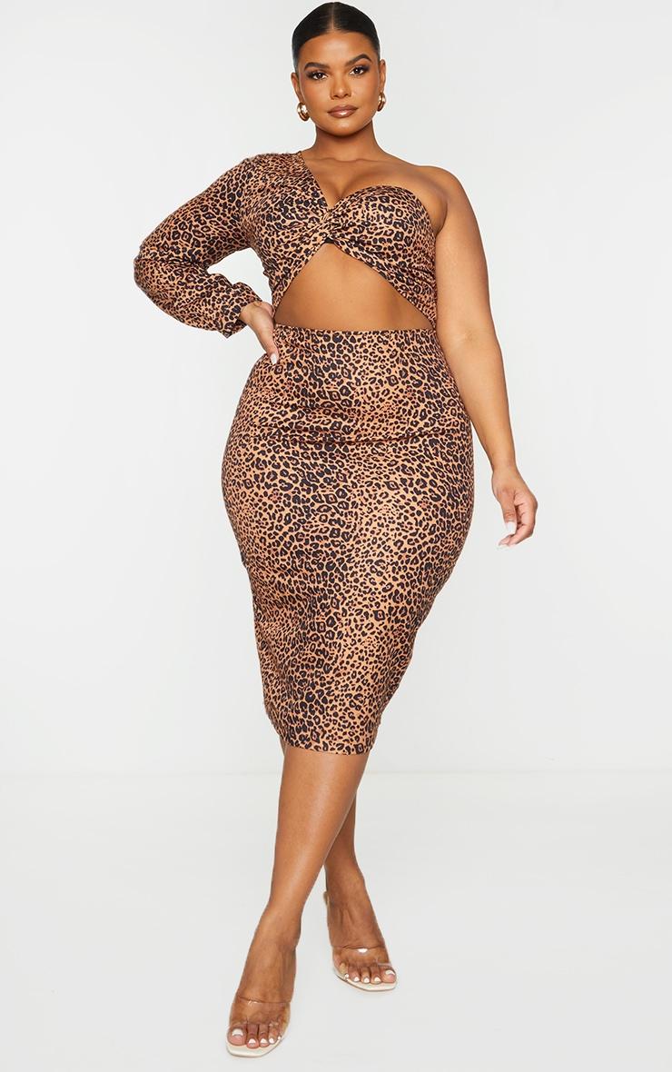 Plus Brown Leopard Woven Cut Out One Shoulder Midi Dress 1