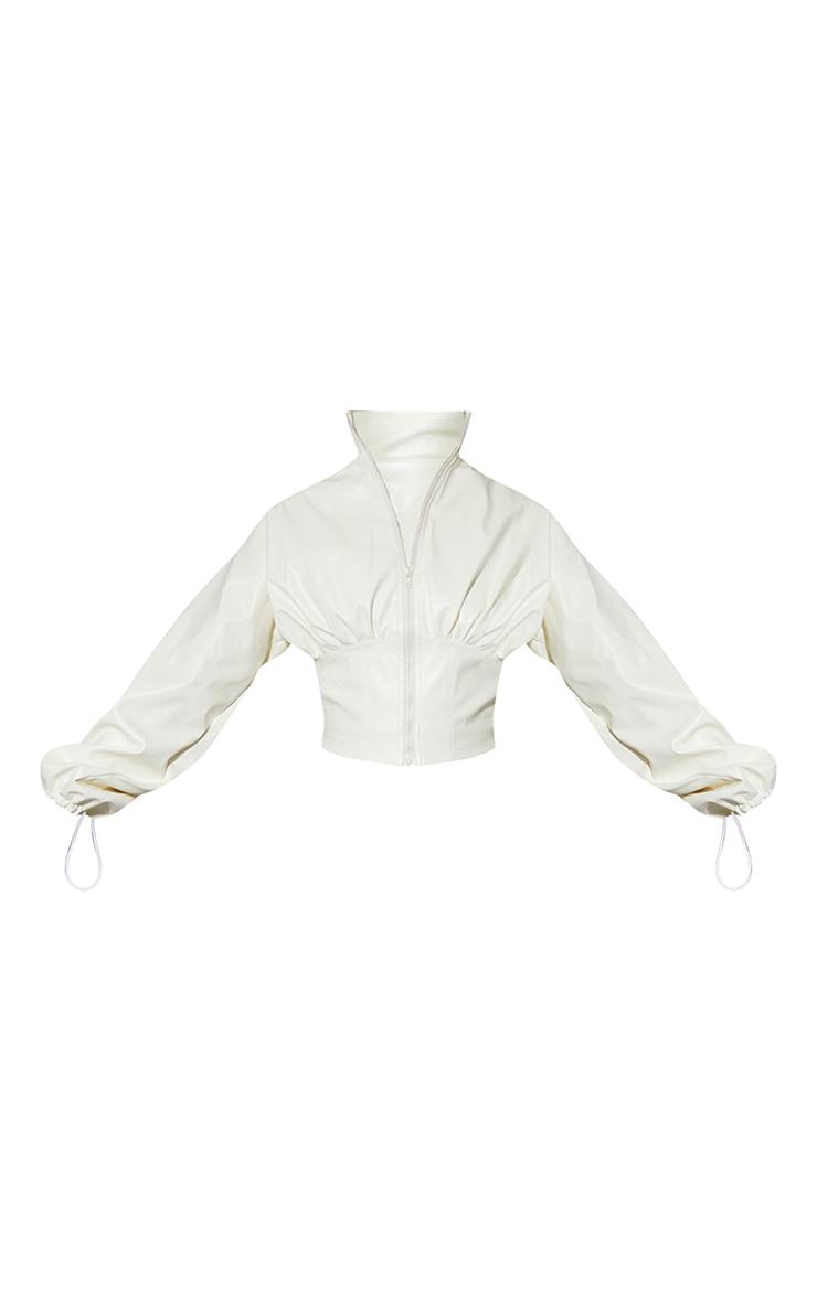 Cream Faux Leather Corset Jacket 5