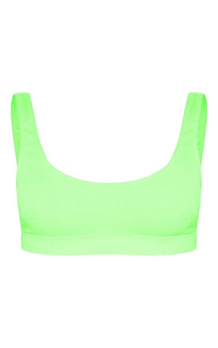Lime Mix & Match Ribbed Elasticated Scoop Bikini Top 3