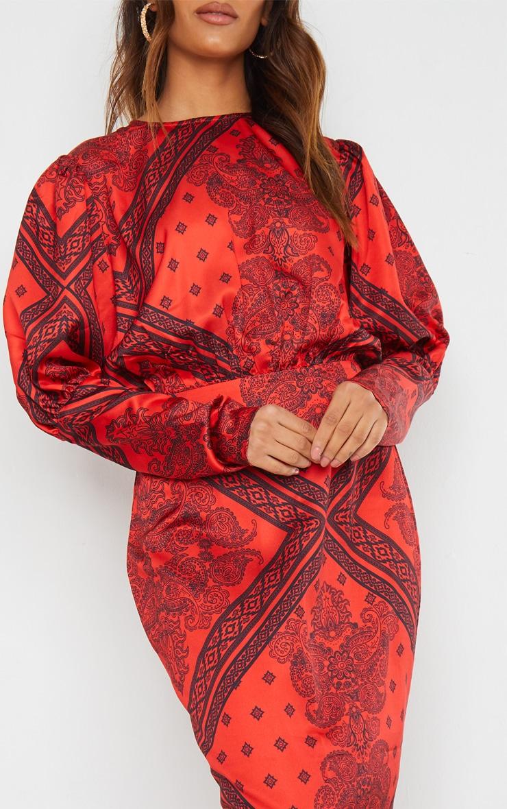 Rust Satin Tile Printed Puff Sleeve Maxi Dress 4