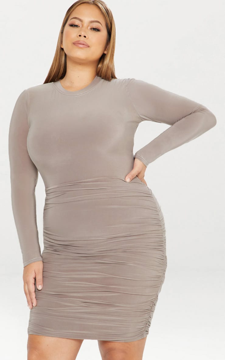 Plus Second Skin Taupe Long Sleeve Ruched Contrast Stitch Midi Dress 3