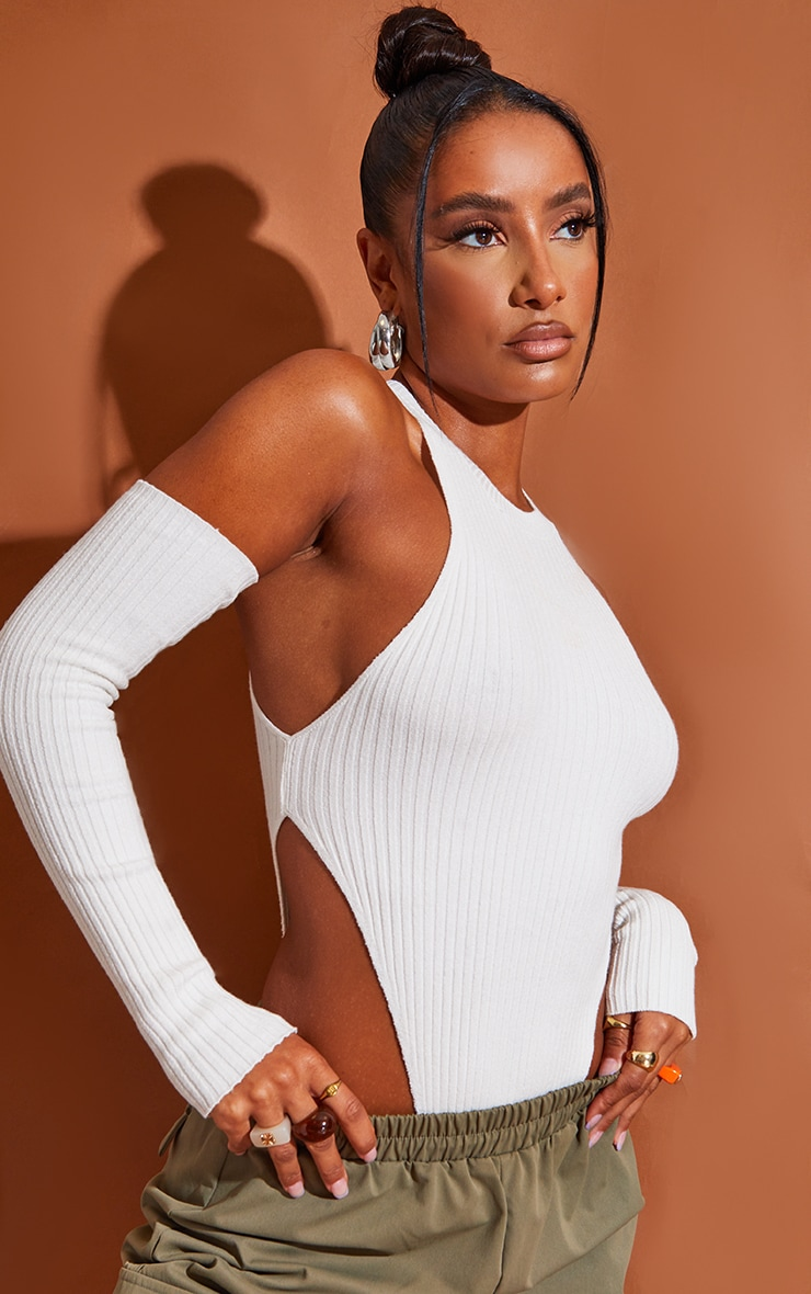 Cream Ribbed Knitted Racer Bodysuit With Sleeves 6