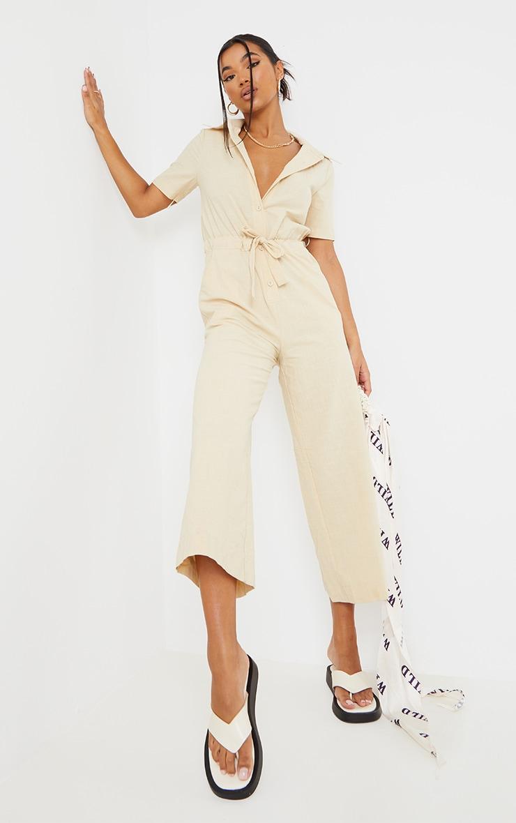 Stone Linen Look Tie Waist Short Sleeve Shirt Jumpsuit 3