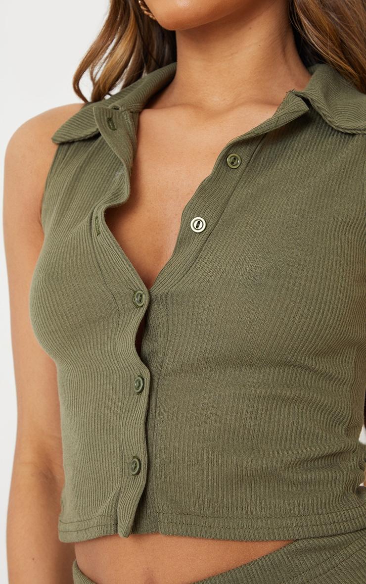Khaki Ribbed Collar Detail Sleeveless Button Front Top 4