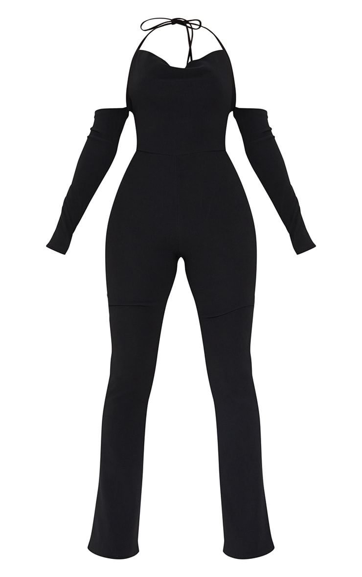 Recycled Black Rib Cowl Neck Long Sleeve Thong Back Jumpsuit 5