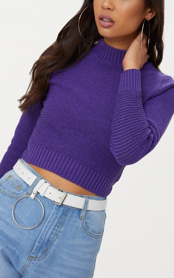 Purple Ribbed Cropped Knitted Jumper 5