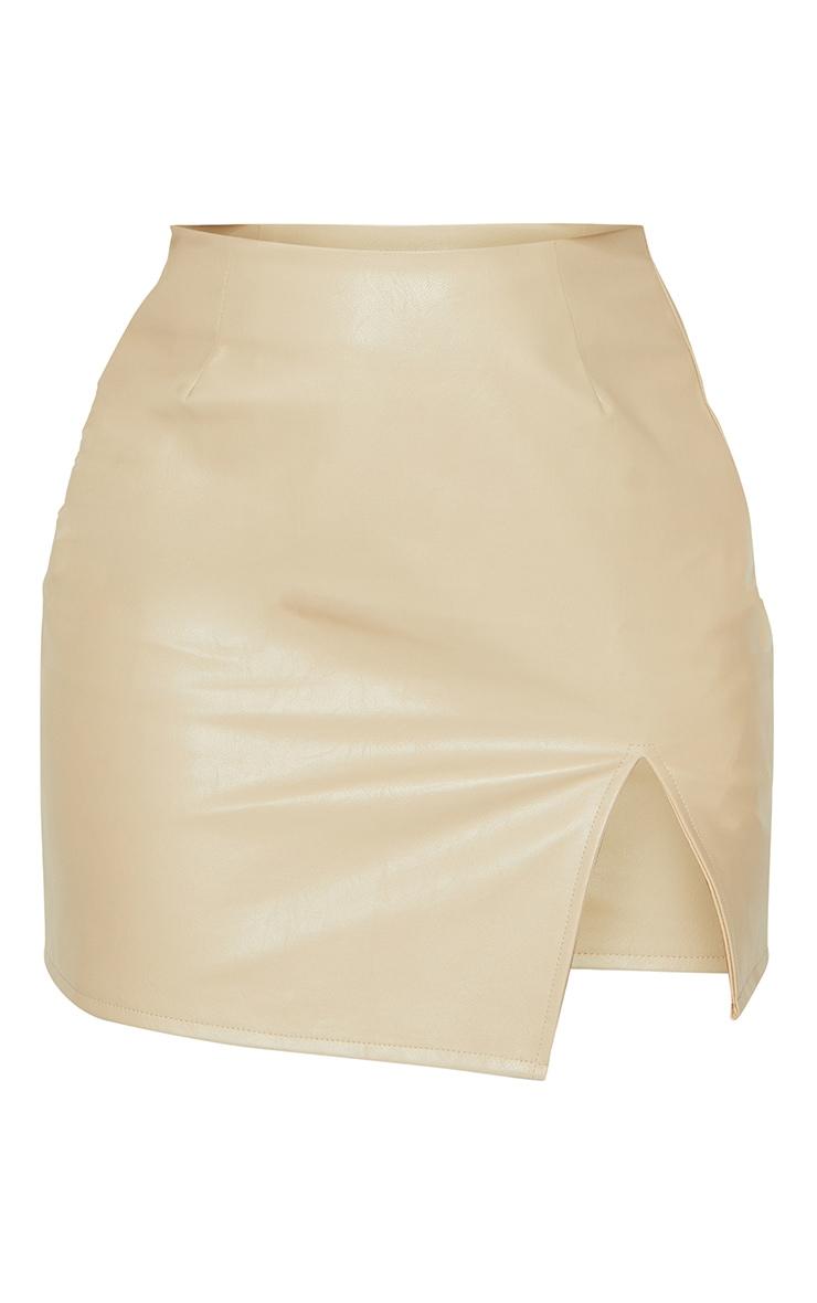 Stone Faux Leather Split Hem Mini Skirt 6