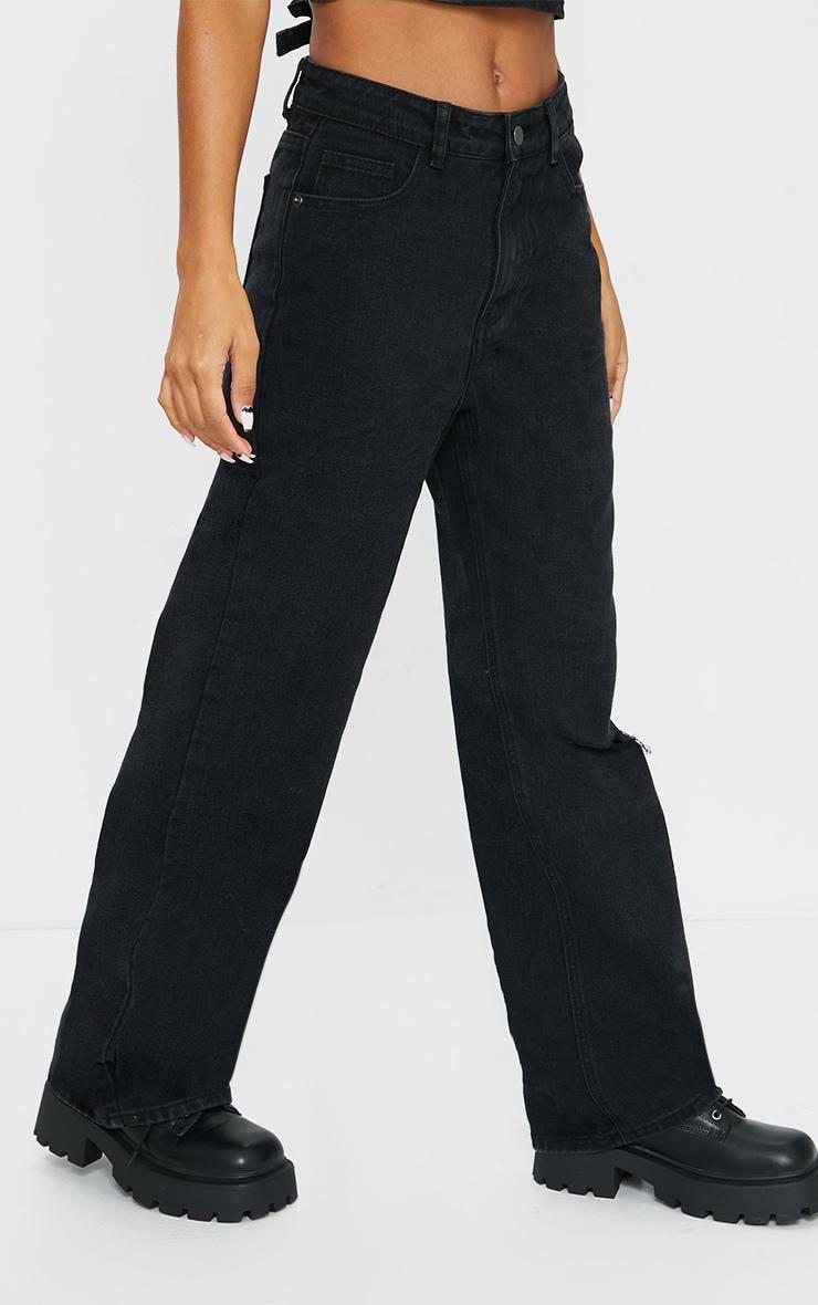 Washed Black Knee Rip Wide Leg Jeans 2