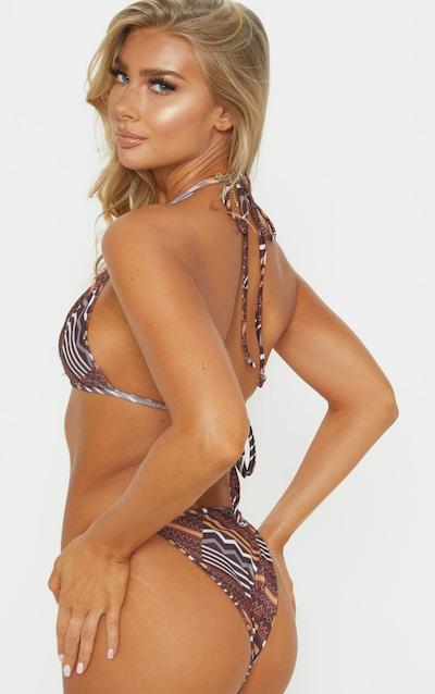 Brown Tribal Print Itsy Bitsy Bikini Top