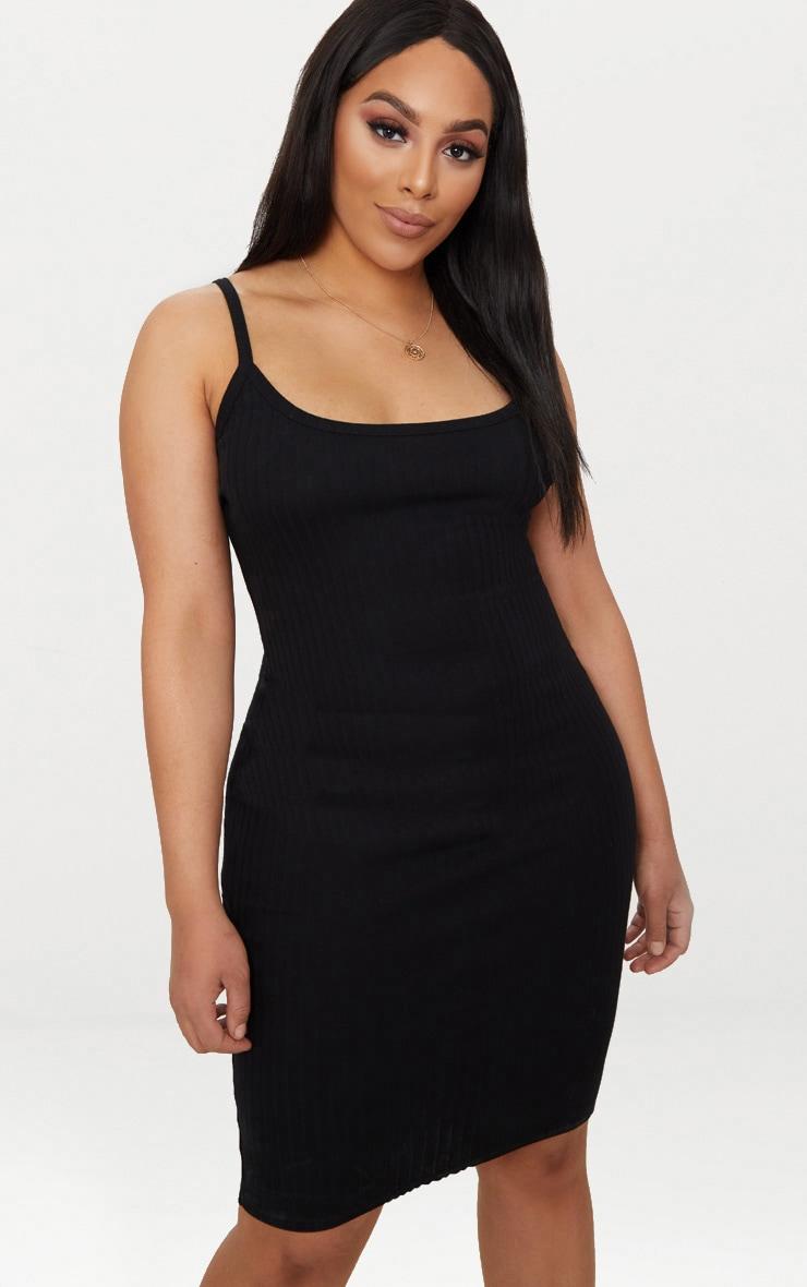 Plus Black Second Skin Thick Ribbed Midi Dress 1