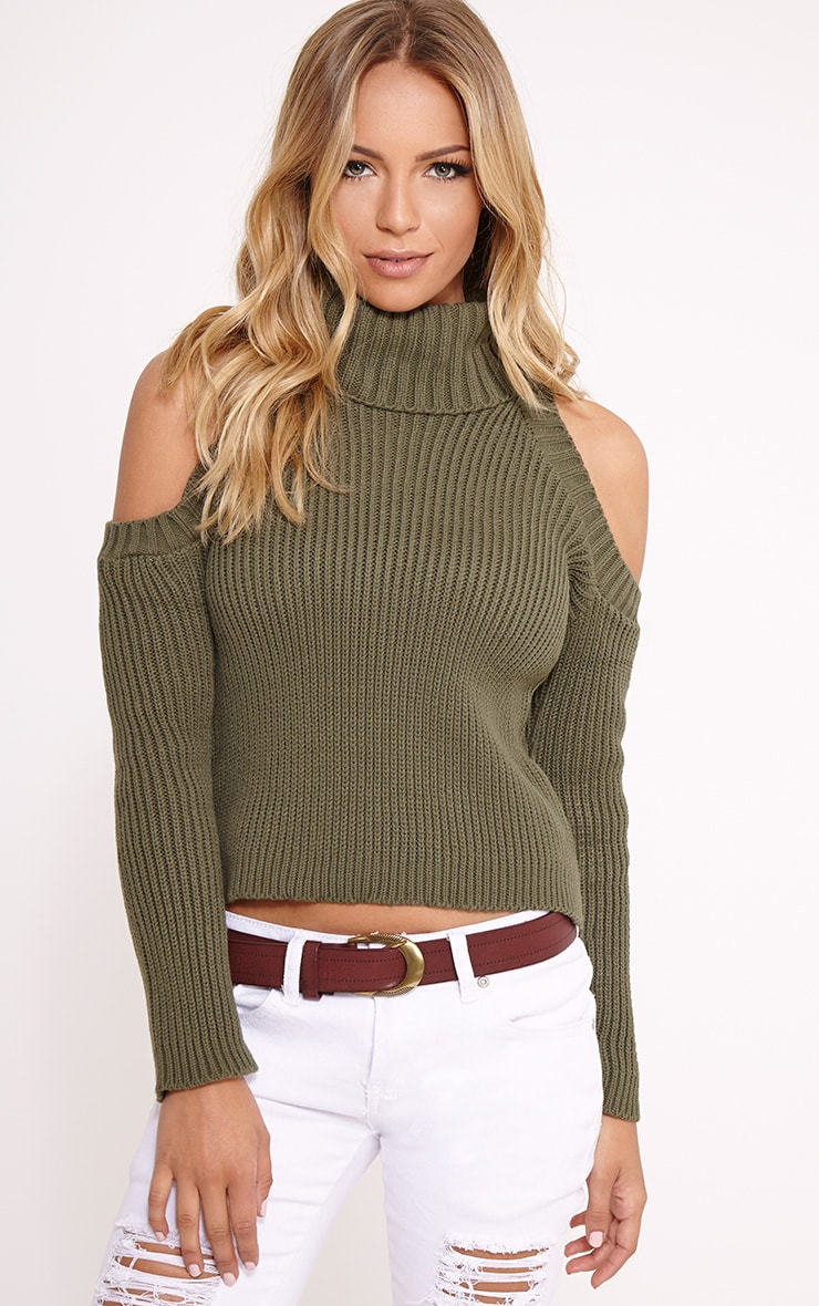 Piper Khaki Cut Out Shoulder Jumper 1