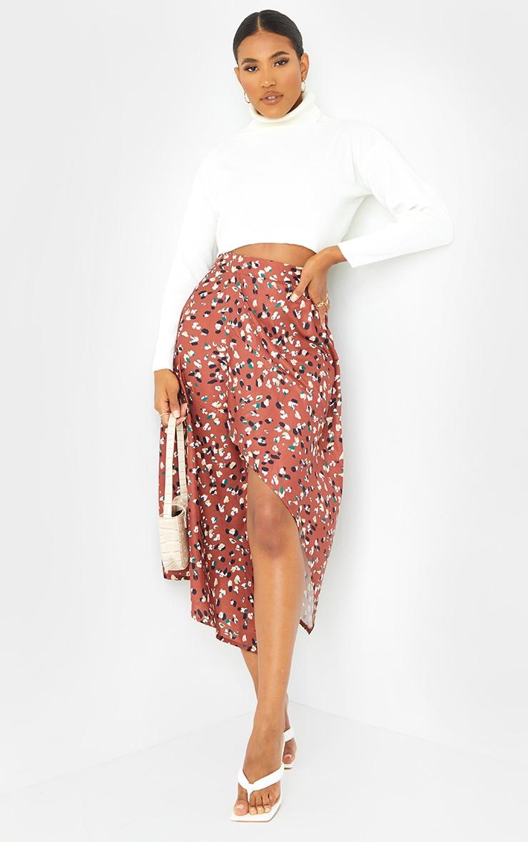 Tan Asymmetric Leopard Print Wrap Midi Skirt 1