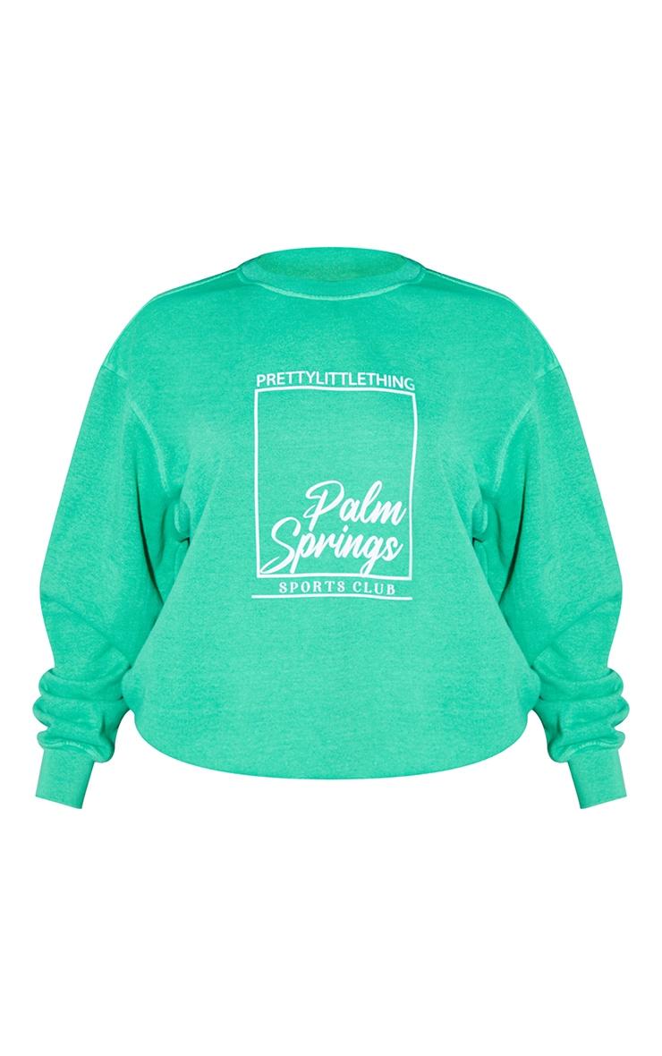 PRETTYLITTLETHING Bright Green Palm Springs Print Sweatshirt 5