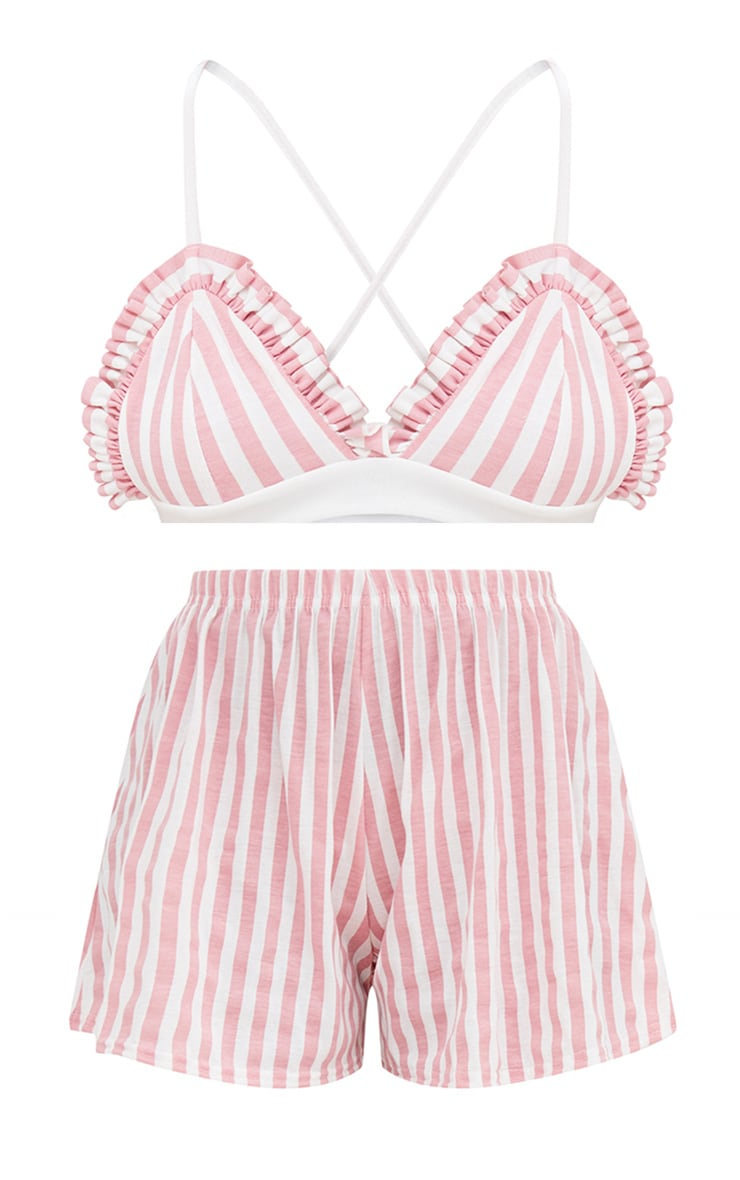 Pink Stripe Bralet And Short Set 3