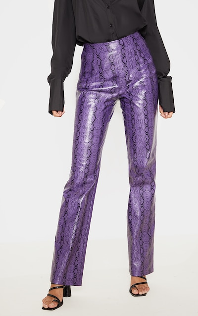 Purple Faux Leather Snake Print Straight Leg Trouser