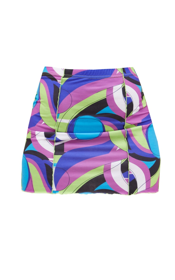 Purple Abstract Print Contrast Seam Mini Skirt 6