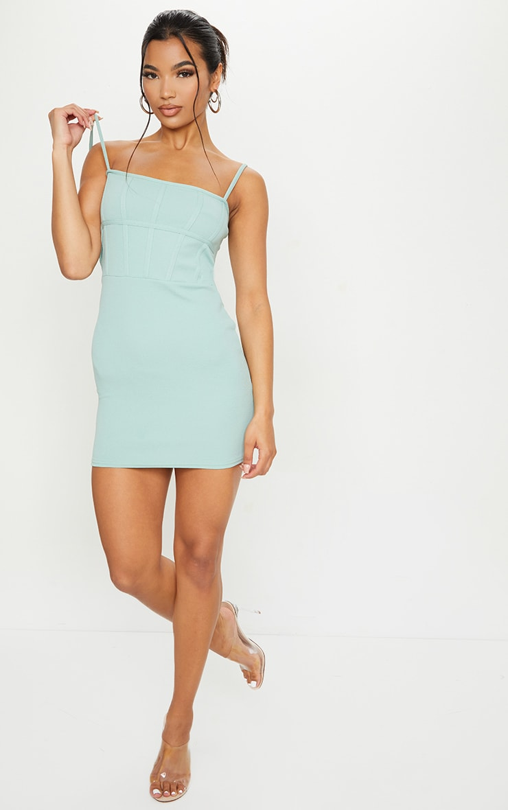 Sage Green Strappy Corset Binding Detail Bodycon Dress 3