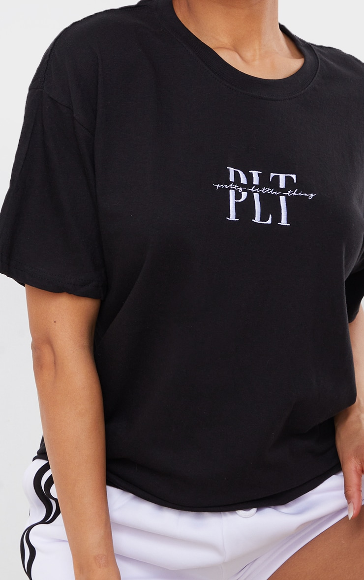 PRETTYLITTLETHING - Tee-shirt noir à broderie 4