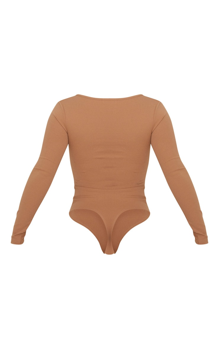 Mocha Crepe V Neck Long Sleeve Bodysuit 4