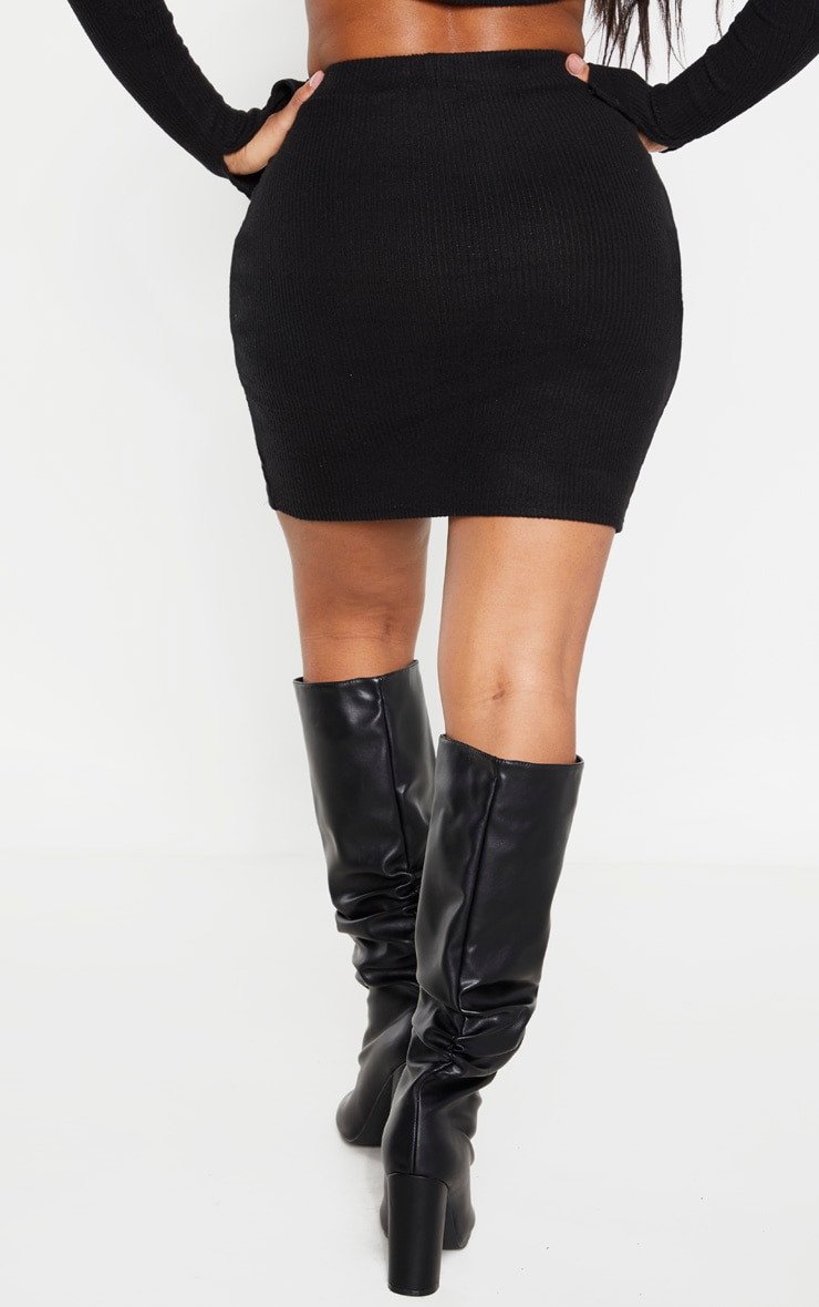 Shape Black Brushed Rib Bodycon Skirt 4