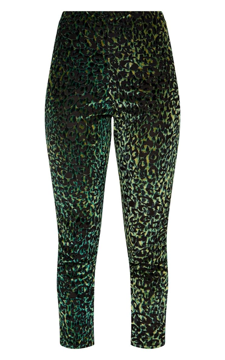 Green Velvet Leopard Trousers  3
