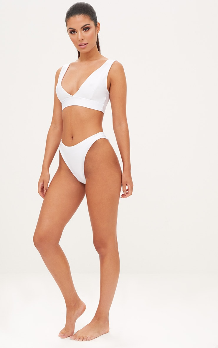 White Plunge High Rise Bikini Set 4