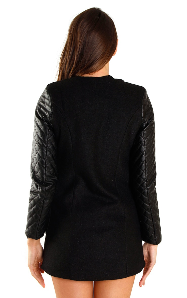 Stella Black Quilted PU Sleeve Coat  3