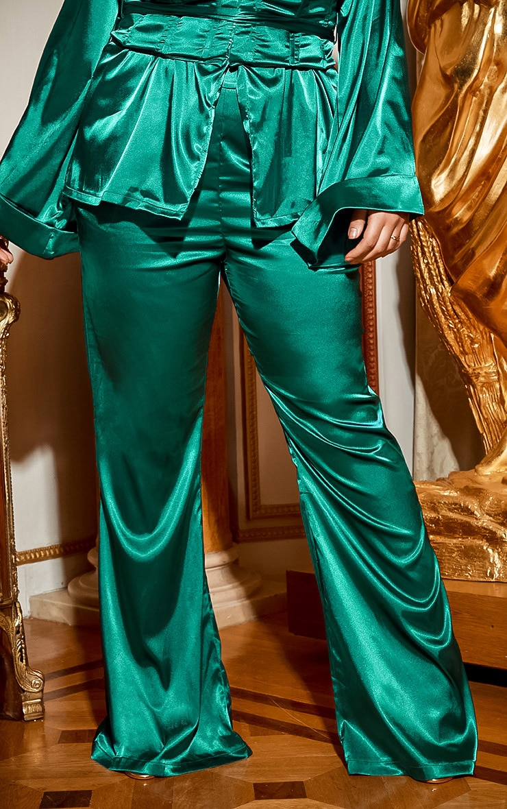 Plus Emerald Green Satin Wide Leg Trouser 3