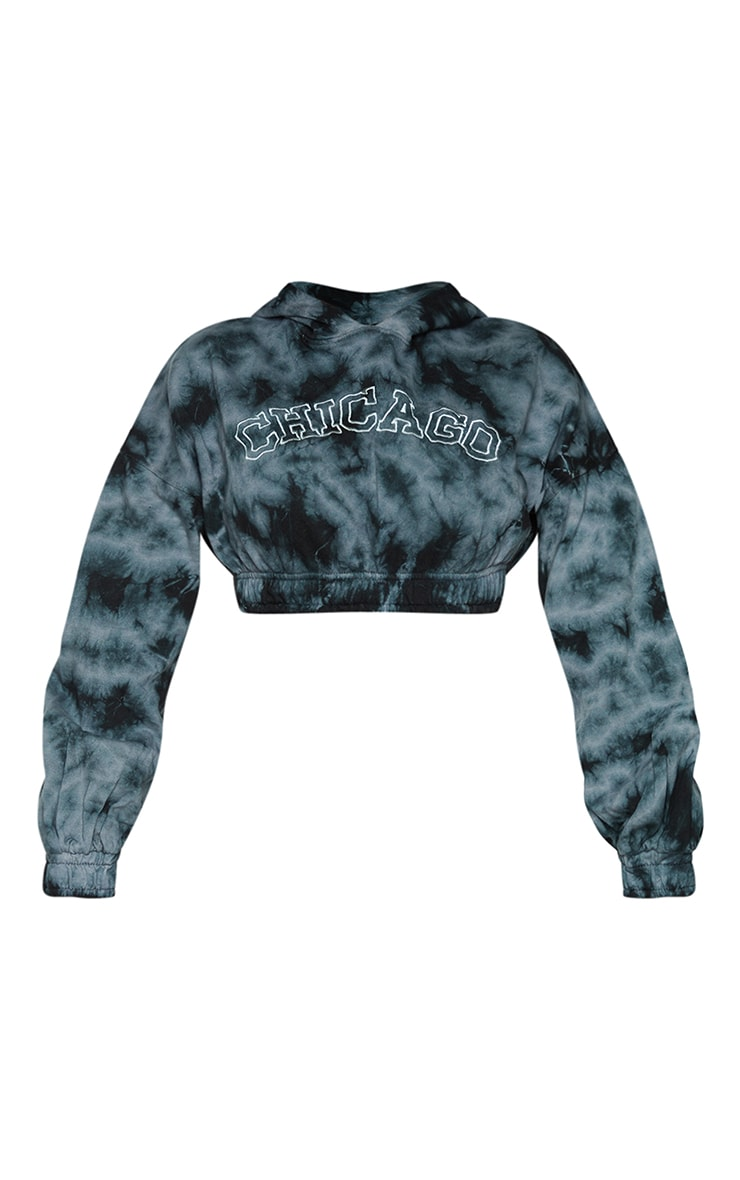 Shape Black Tie Dye Chicago Embroidered Cropped Hoodie 5
