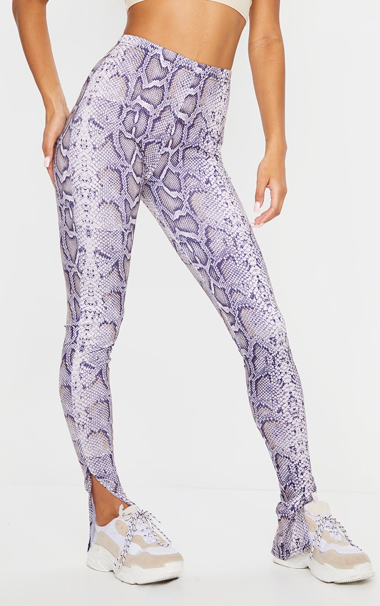 Snake Print Basic Jersey Split Hem Leggings 2