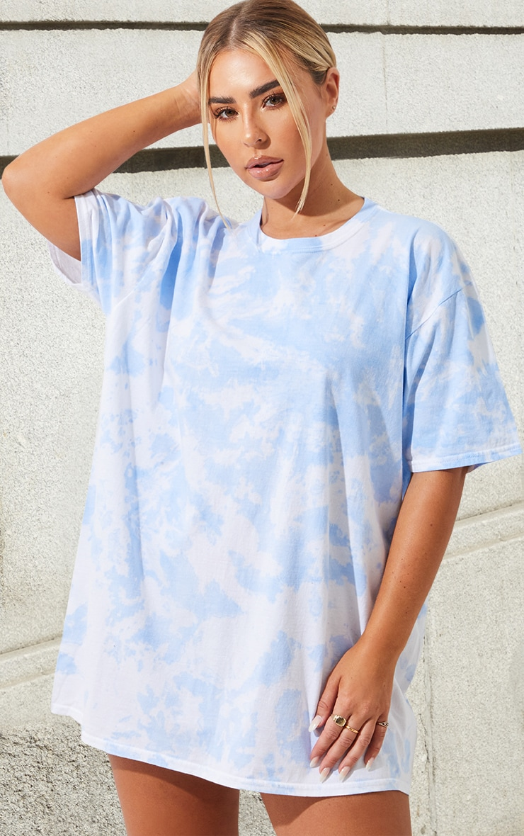 Light Blue Tie Dye Washed T Shirt 1