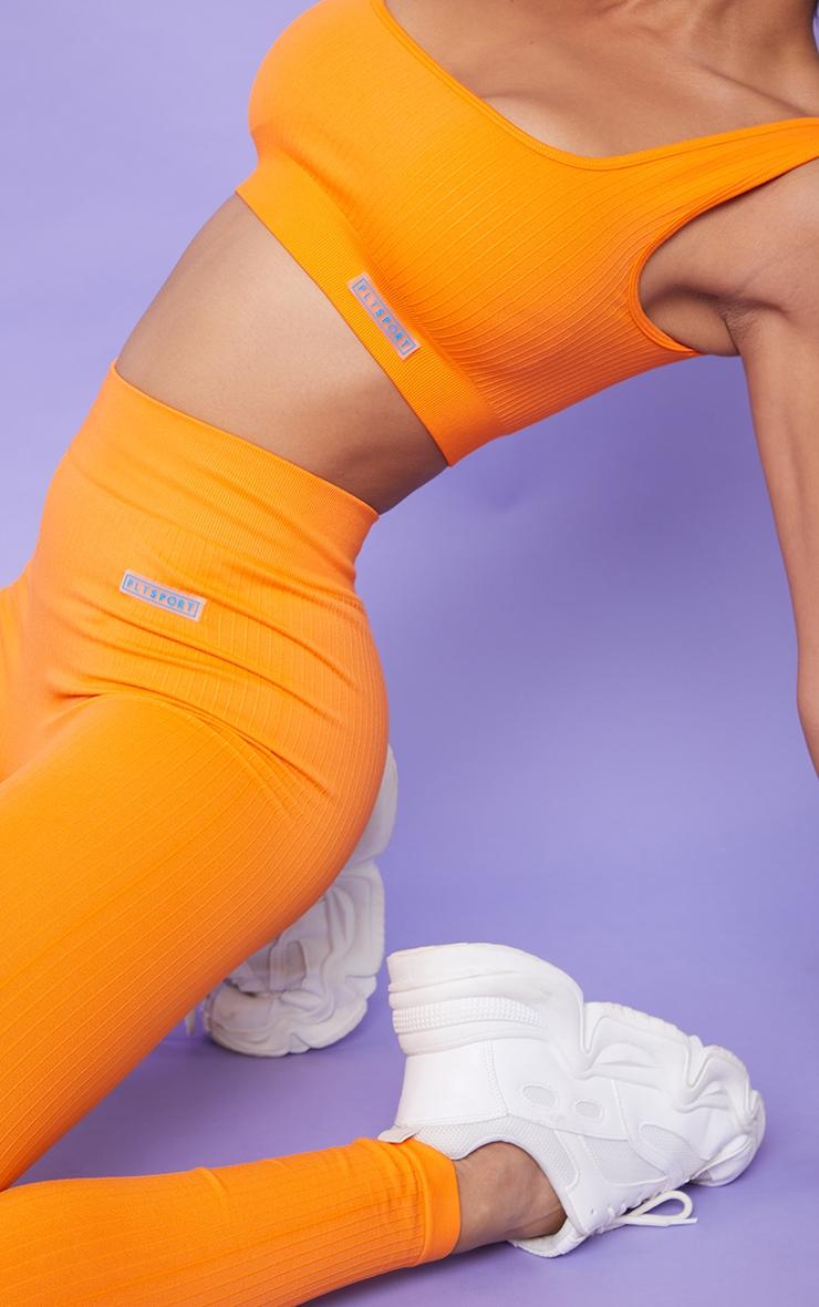 Orange Ribbed Seamless Badge Sports Bra 4