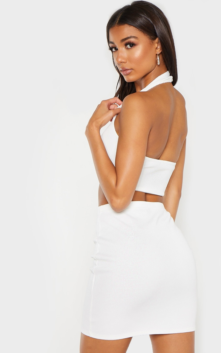 Cream Bandage Rib Halterneck Cross Front Crop Top 2