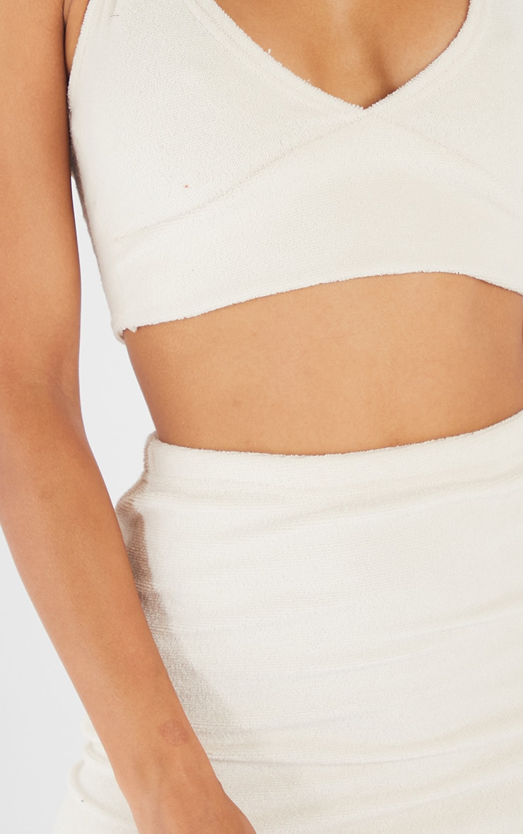 Cream Towelling Mini Skirt 5