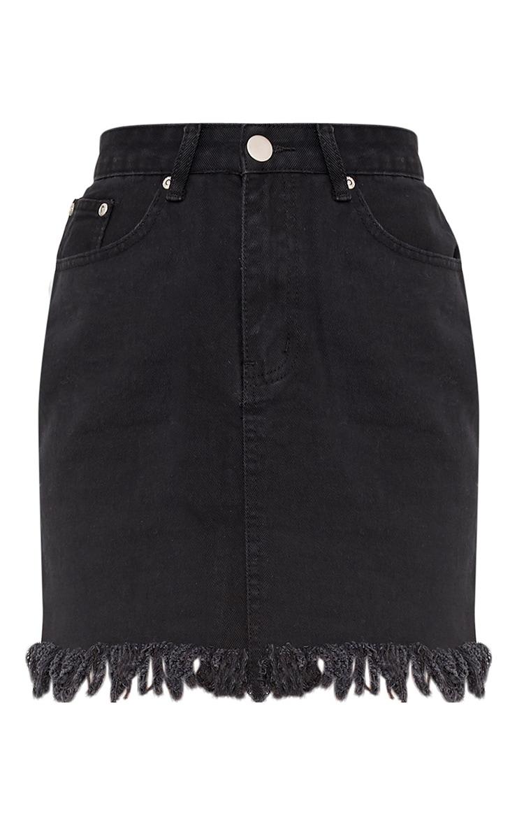 Jasminda minijupe en jean noire à ourlet à franges 3