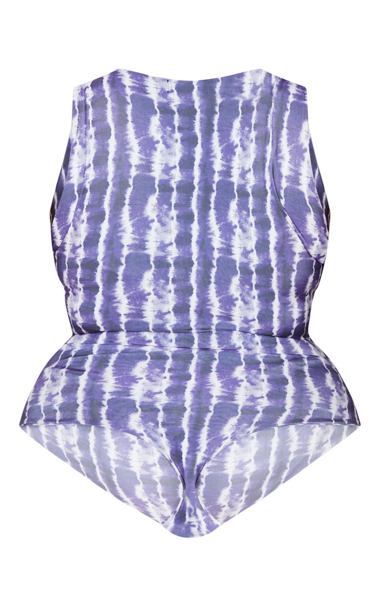 Plus Purple Tie Dye Sleeveless Slinky Bodysuit 6