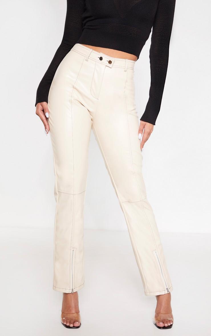 Cream Contrast Stitch PU Straight Leg Pants  2