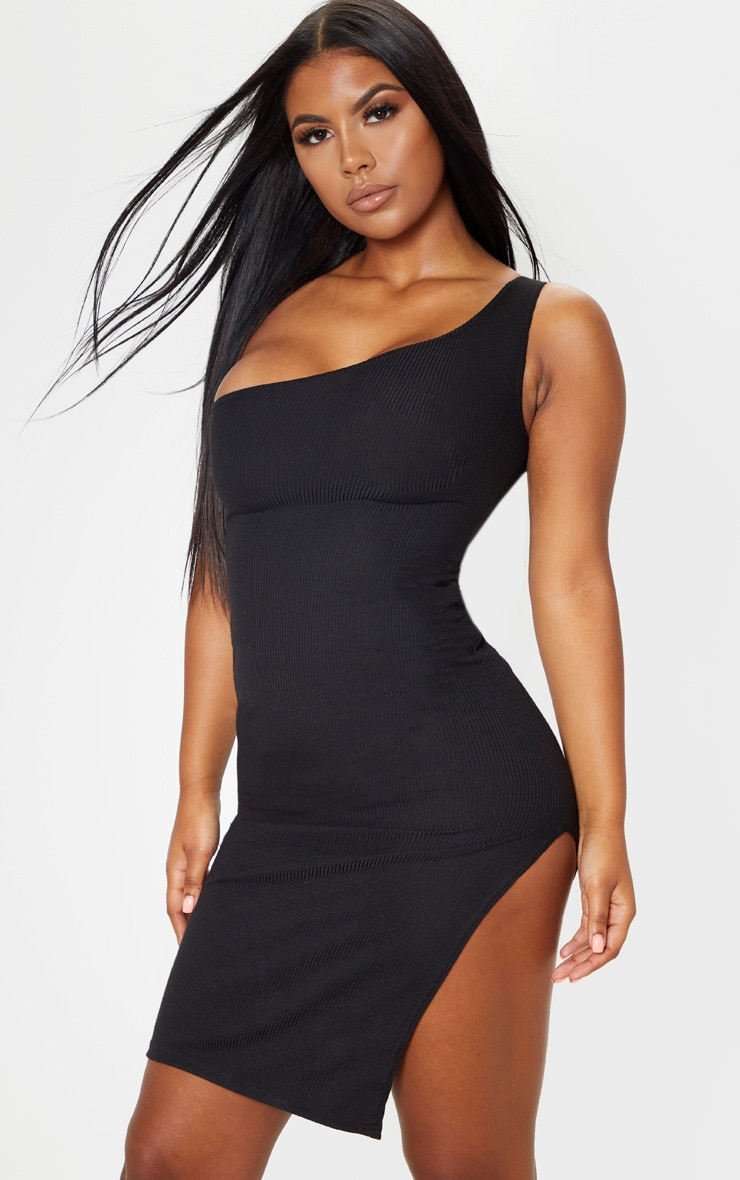 Black Ribbed One Shoulder Midi Dress  1