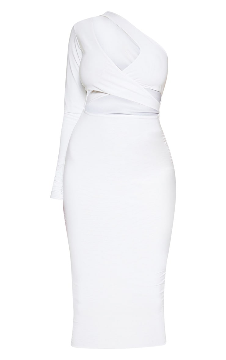 White Cut Out One Shoulder Midi Dress 3