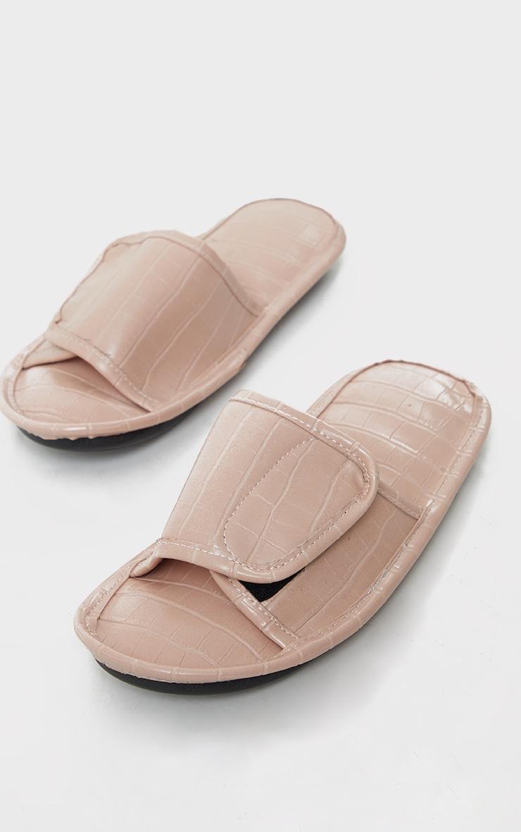 Beige PU Croc Velcro Slides 3