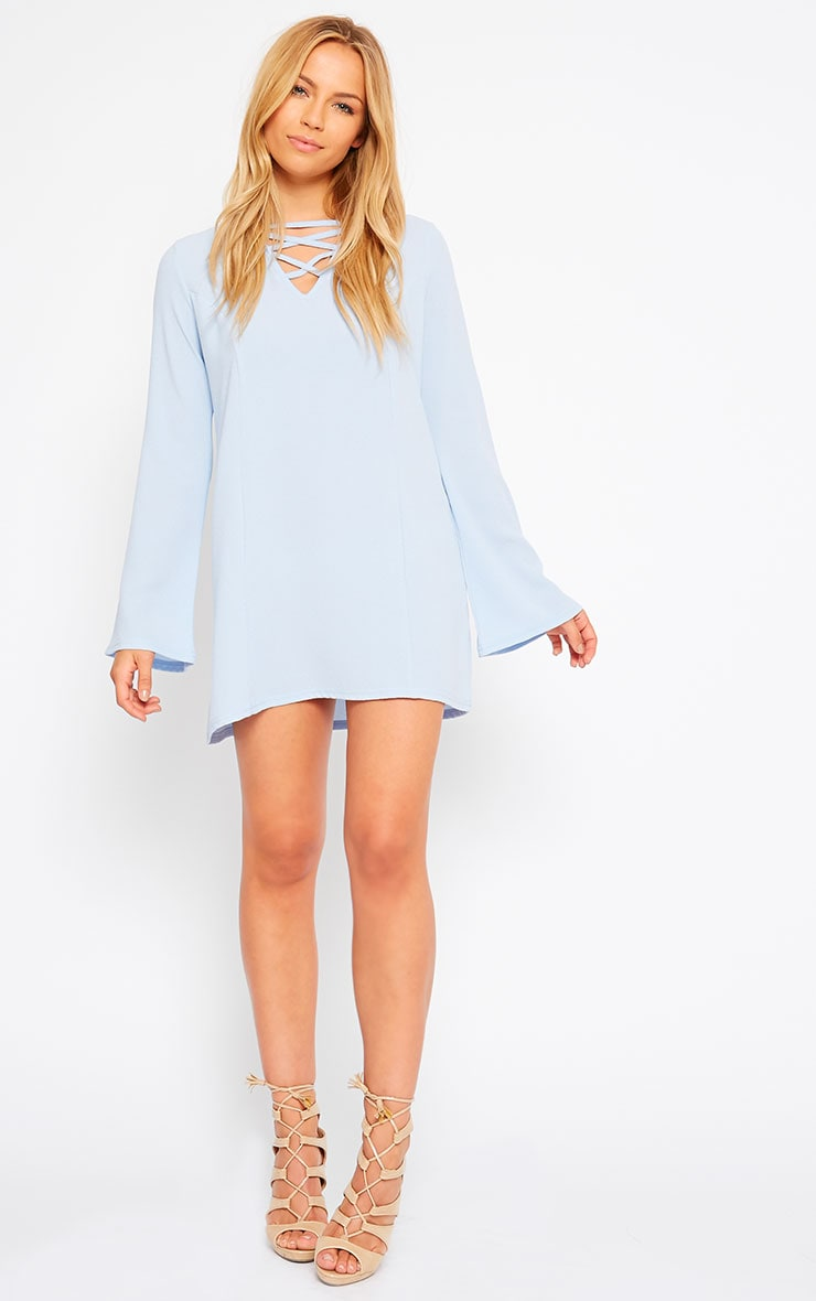 Liz Powder Blue Cross Front Crepe Loose Fit Swing Dress 3