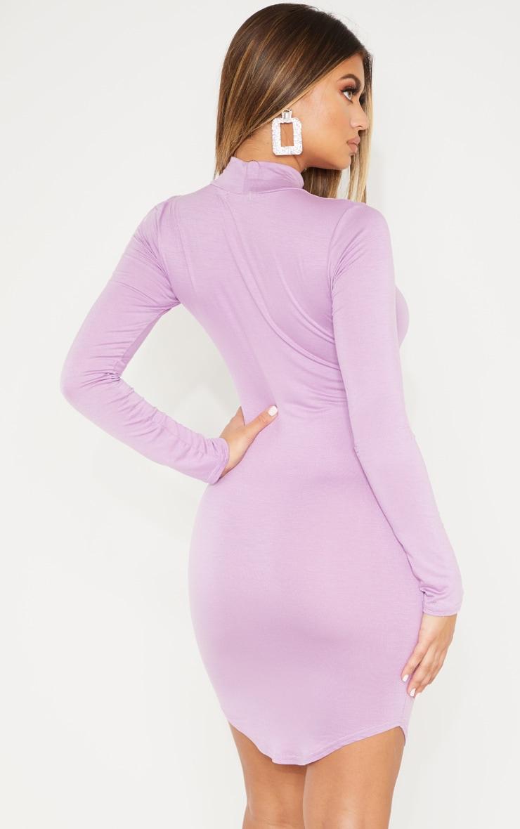 Lilac Curve Hem High Neck Bodycon Dress  2
