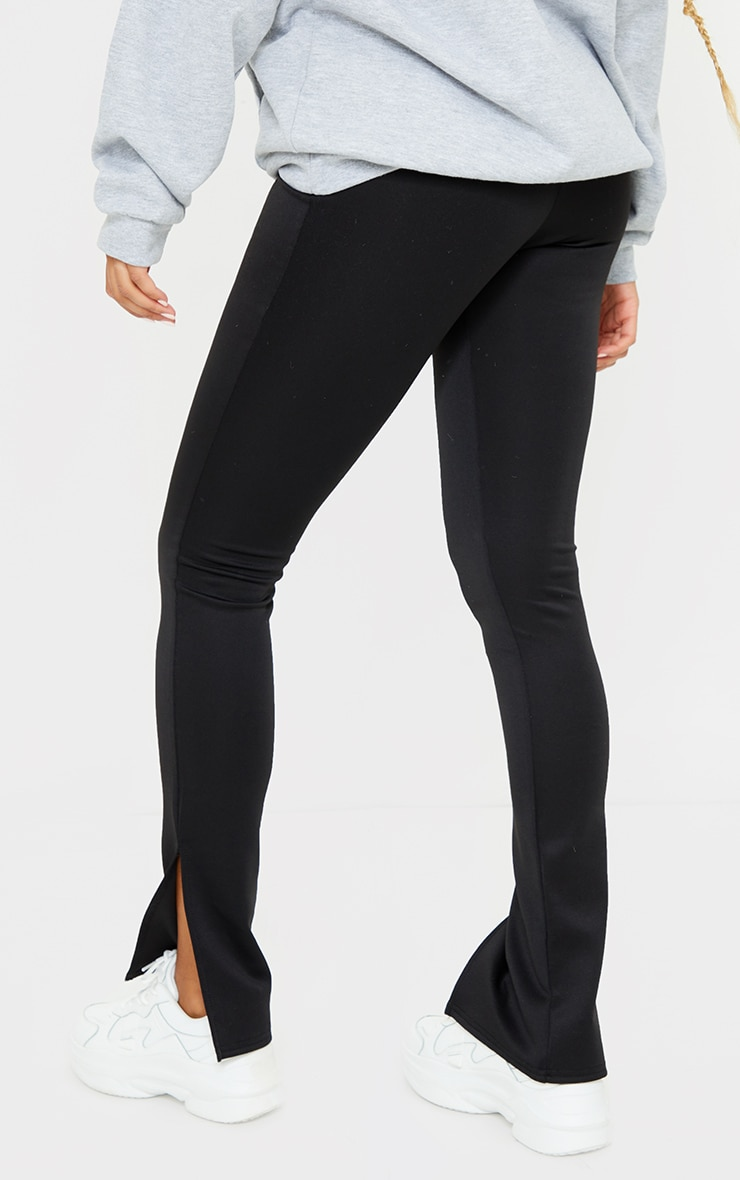 Black Scuba Split Hem Skinny Trousers 3