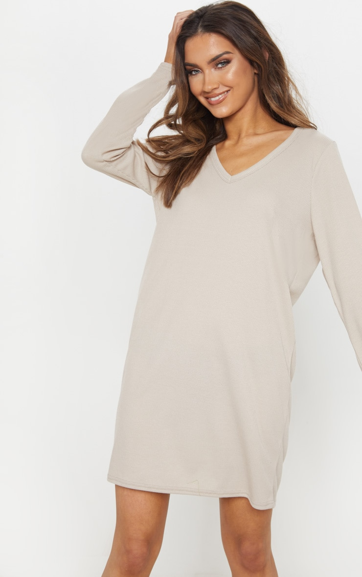 Sand V Neck Ribbed Long Sleeve T Shirt Dress 1